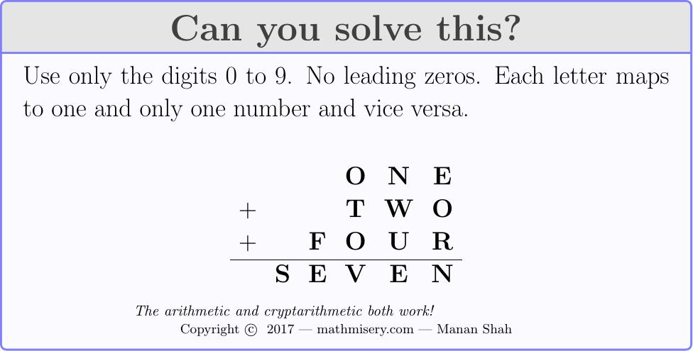 ONE + TWO + FOUR  = SEVEN