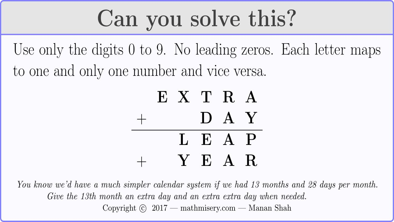 EXTRA + DAY  = LEAP + YEAR
