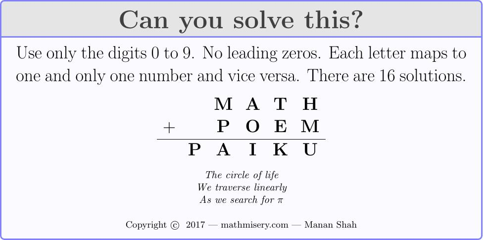 MATH + POEM  = PAIKU