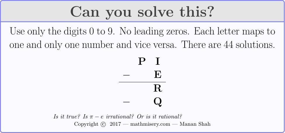 PI - E  = R - Q