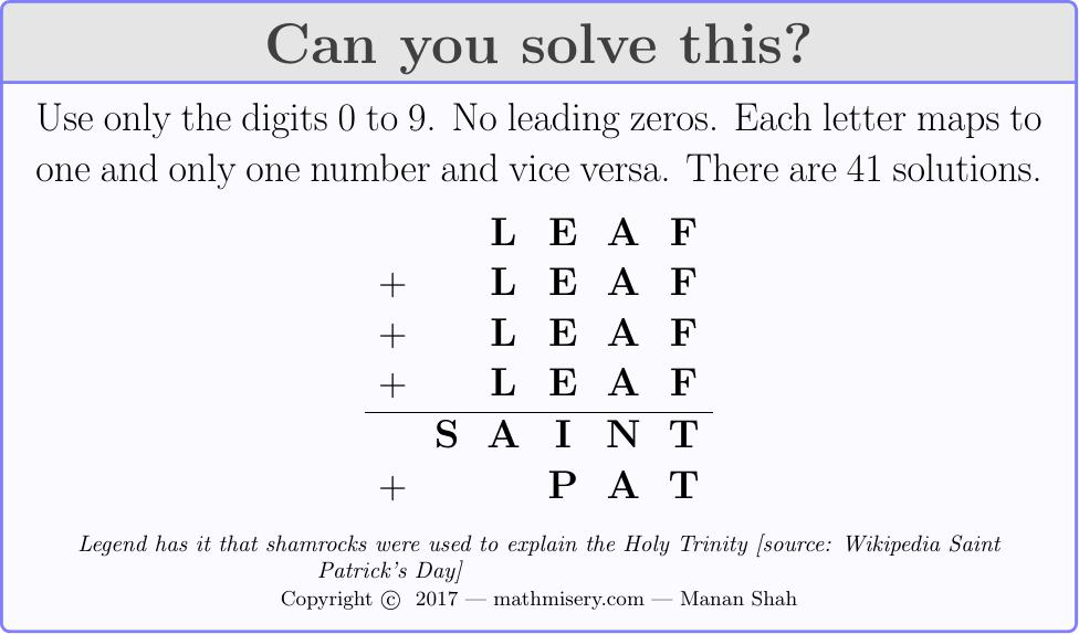 LEAF + LEAF + LEAF + LEAF  = SAINT + PAT