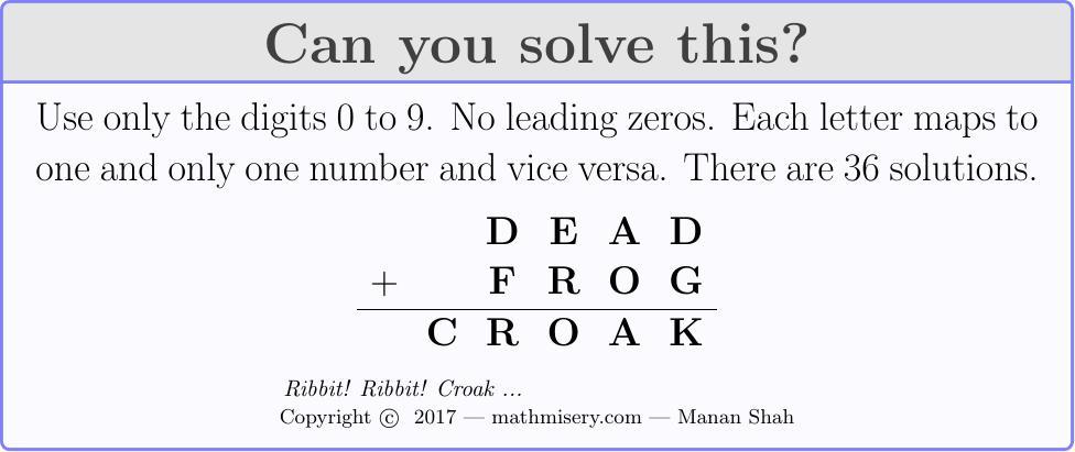 DEAD + FROG  = CROAK