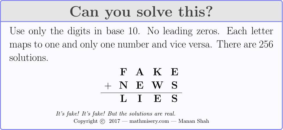 FAKE + NEWS  = LIES