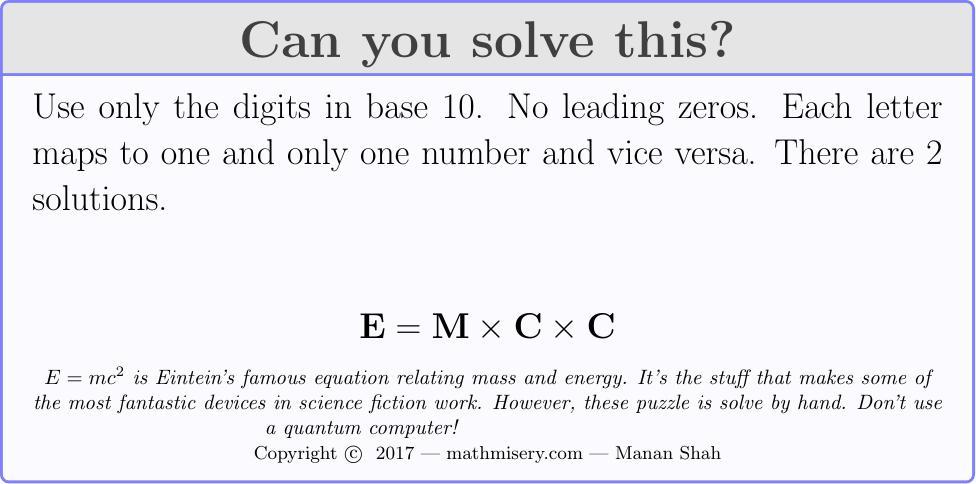 E  = M * C * C