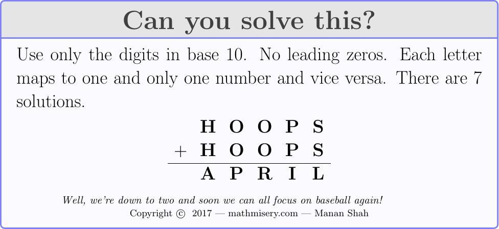 HOOPS + HOOPS  = APRIL