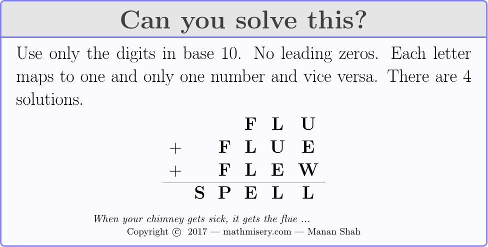 FLU + FLUE + FLEW  = SPELL