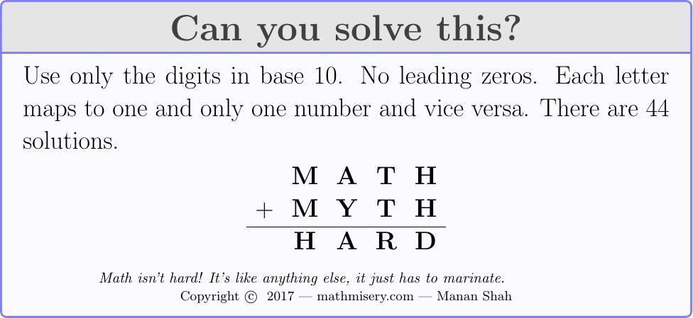 MATH + MYTH  = HARD