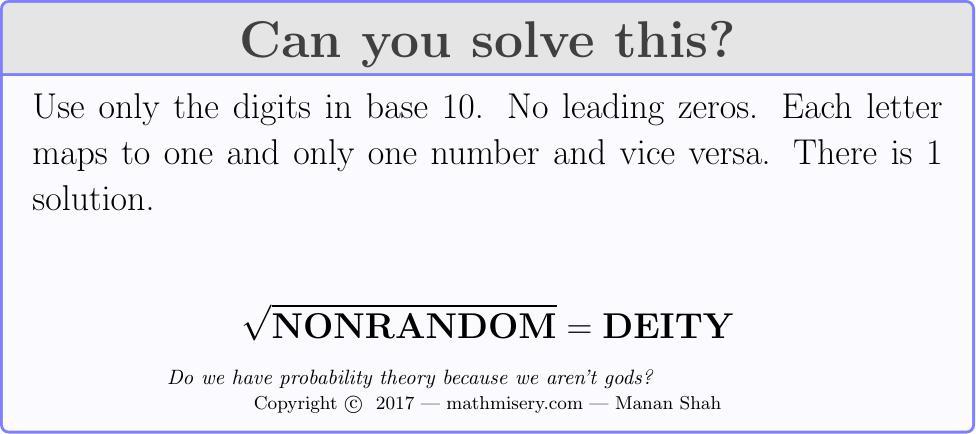 NONRANDOM  = DEITY