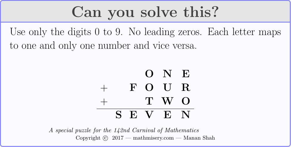ONE + FOUR + TWO = SEVEN