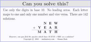 NEW + YEAR = MATH