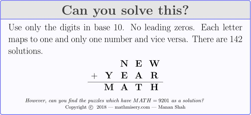 Ten New Year's Algebra Puzzles For 2019   Math Misery?